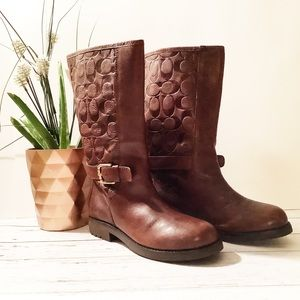 "{Coach}Signature ""C"" Embossed Brown Leather Boots"